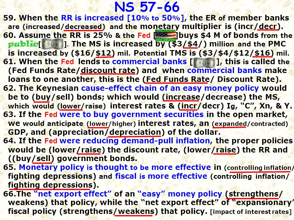 59. When the RR is increased [10% to 50%], the ER of member banks